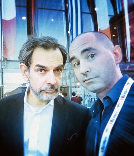 Igor Sibaldi con l'editore al Salone del Libro di Torino, 2014