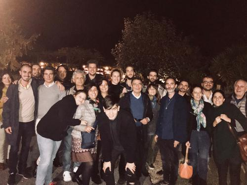 """Corrado Malanga con lo staff e i suoi fan dopo il convegno """"Il ritorno degli Dei"""", Roma 2018"""
