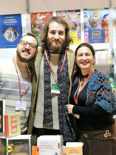 Marco ed Elisa con David Simurgh alla Fiera della Piccola Editoria di Roma, 2019